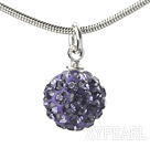 Wholesale Simple Design Fashion Style Purple Rhinestone Ball Pendant Necklace with Metal Chain
