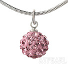 Wholesale Simple Design Fashion Style Baby Pink Rhinestone Ball Pendant Necklace with Metal Chain