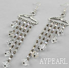 Lovely Long Chain Loop Style Cubic Clear Crystal Tassel Dangle Earrings