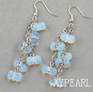 Cucurbit Shape Opal Crystal Long Style Earrings