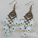 Wholesale Vintage Style Square Shape Opal Crystal Chandelier Earrings