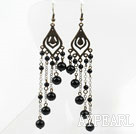 Wholesale Long Style Vintage Style Black Agate Tassel Earrings