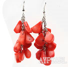 Cluster Style Drop Shape Orange Red Coral Earrings