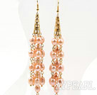 Wholesale Long Style Natural Pink Freshwater Rice Pearl Tassel Earrings