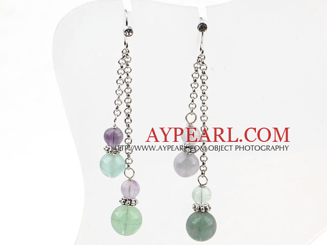 Classic Design Dangle Style Fluorite Long Earrings