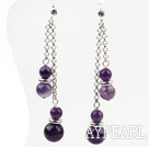 Wholesale Classic Design Dangle Style Amethyst Long Earrings