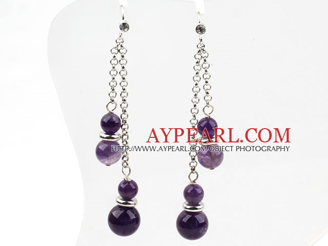 Classic Design Dangle Style Amethyst Long Earrings