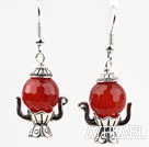 Lovely Style Red Carnelian Small Teapot Shape Earrings