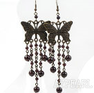 Wholesale Vintage Style Garnet and Butterfly Accessories Earrings