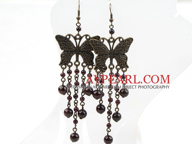 Vintage Style Garnet and Butterfly Accessories Earrings
