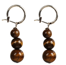 Beautiful Long Style Graduated Tiger Eye Stone Beads Dangle Earrings