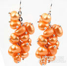 Cluster Style Orange Yellow Color Rice Pearl Earrings