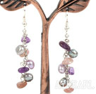 Dangle Stil Frshwater Pearl und Amethyst und Strawberry Quartz Lange Ohrringe