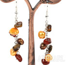 Wholesale Dangle Style Brown Series Freshwater Pearl and Tiger Eye and Red Jasper Long Earrings
