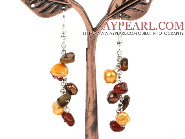 Dangle Style Brown Series Freshwater Pearl and Tiger Eye and Red Jasper Long Earrings