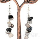 Wholesale Dangle Style Gray Black Series Freshwater Pearl and Agate Long Earrings
