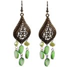 Vintage Style Chandelier Shape Green Pearl Shell Earrings With Leaf Shape Bronze Accessory