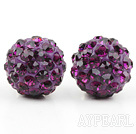 Fashion Style Dark Purple Rhinestone Ball Studs Earrings