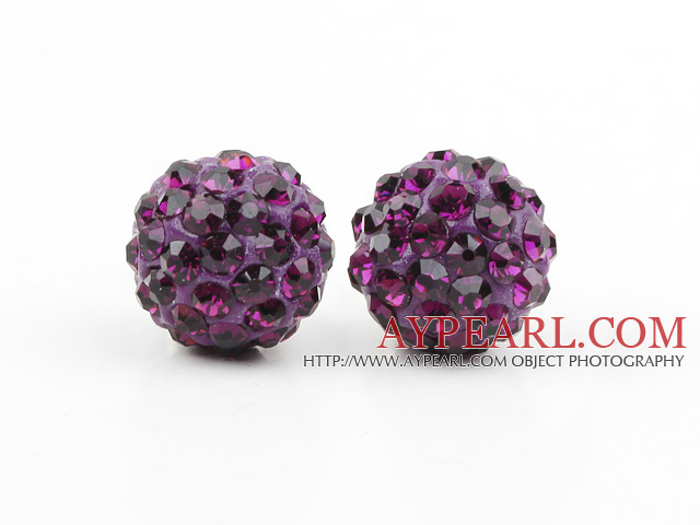Fashion Style Dark Purple Rhinestone Ball Studs Earrings