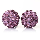 Fashion Style Light Purple Rhinestone Ball Studs Earrings