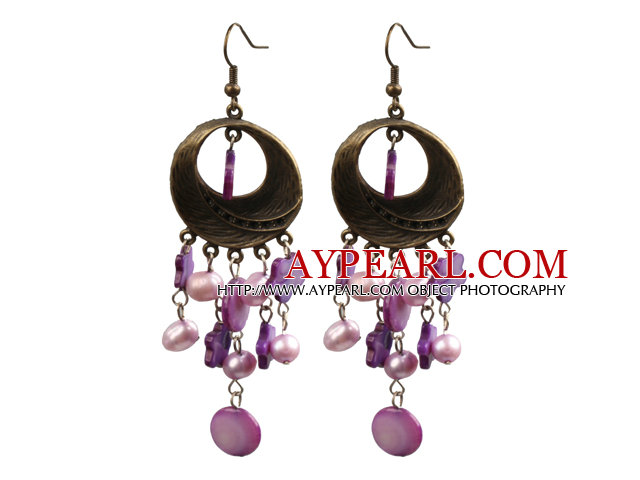 Vintage Style Chandelier Shape Purple Pearl Shell Earrings With Round Bronze Accessory