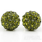 Fashion Style Olive Green Rhinestone Ball Studs Earrings