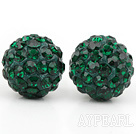 Fashion Style Dark Green Rhinestone Ball Studs Earrings