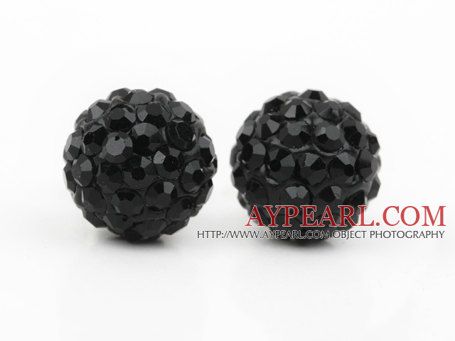 Fashion Style Black Rhinestone Ball Studs Earrings