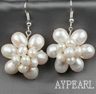 Natural White Ferskvann Pearl Flower Shape øredobber