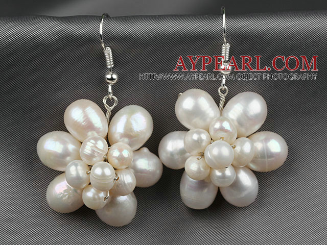 Natural White Freshwater Pearl Flower Shape Earrings