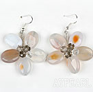 Wholesale Natural Color Agate and Crystal Flower Shape Earrings