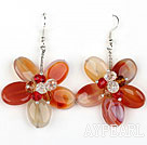 Wholesale Natural Color Agate and Multi Color Crystal Flower Shape Earrings