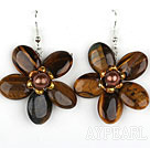 Tiger Eye and Brown Pearl Flower Shape Earrings