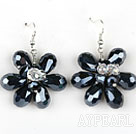 Black Crystal et Clear Crystal Earrings forme de fleur
