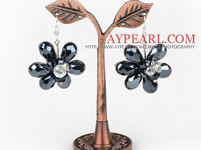 Black Crystal and Clear Crystal Flower Shape Earrings
