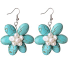 Wholesale Turquoise and White Pearl Flower Shape Earrings