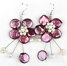 Purple Red Coin Pearl and White Pearl Crystal Flower Shape Earrings