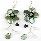 Olive Green Coin Pearl and Pearl Crystal Flower Shape Earrings