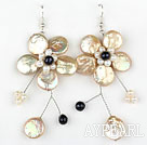 Champagne Color Coin Pearl and White Pearl Crystal Flower Shape Earrings