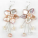 Natural Violet Coin Pearl and White Pearl Crystal Flower Shape Earrings