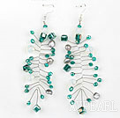 Lake Green Color Crystal Long Style Earrings