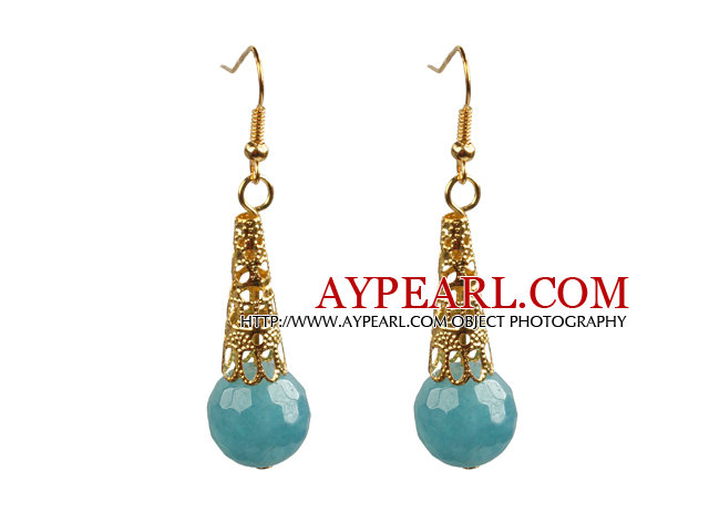 Simple Classic Design Faceted Kyanite Bead Dangle Earrings With Golden Hook
