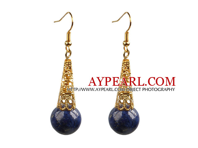 Simple Classic Design Round Lapis Bead Dangle Earrings With Golden Hook