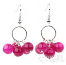 Lovely Style 8mm Rosy Pink Agate Cluster Earrings