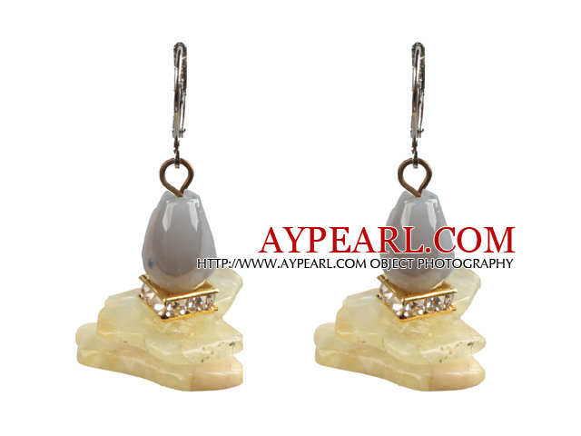 Special Fashion Design Irregular Shape Yellow Opal And Grey Agate Dangle Earrings With Lever Back Hook