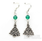 Simple Design Green Agate und Weihnachten / Xmas Tree Form Ohrringe