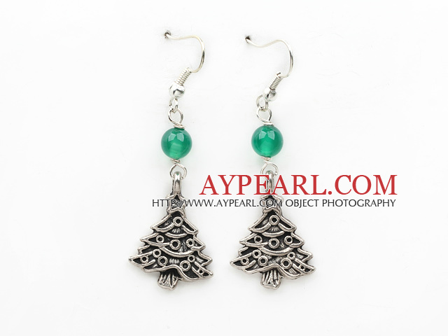 Simple Design Green Agate and Christmas / Xmas Tree Shape Earrings