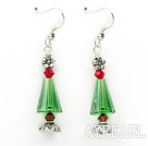 Wholesale Classic Design Green Austrian Crystal Christmas / Xmas Tree Shape Earrings