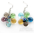 Multi Color Drop Shape Multi Crystal Flower Shape Earrings