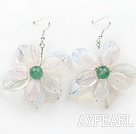 Wholesale Elegant Style Rose Quartz and Opal and Green Agate Flower Shape Earrings
